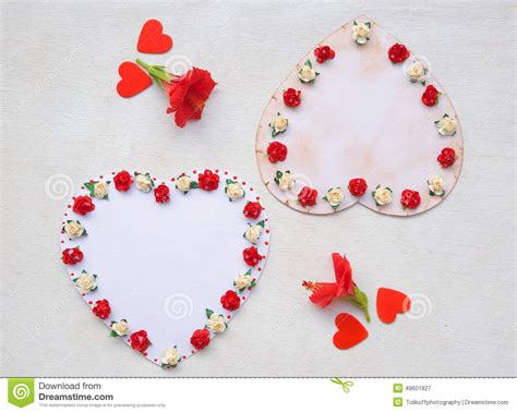 Handmade Paper Hearts - two handmade paper top view stock photo image