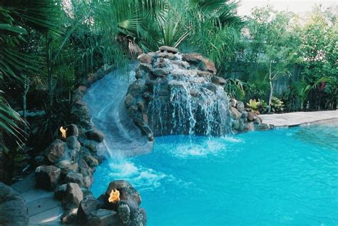 Tropical Bathroom Ideas by Pools With Waterfalls And Slides Backyard Design Ideas