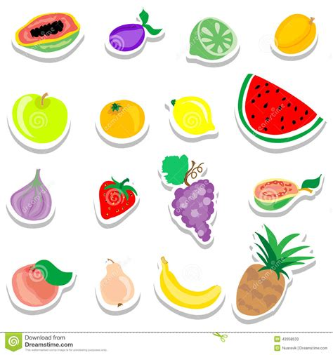 printable vegetable stickers set of flat fruits stickers icons stock illustration