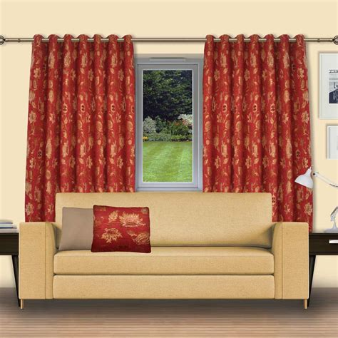 Chenille Curtains Floral Red