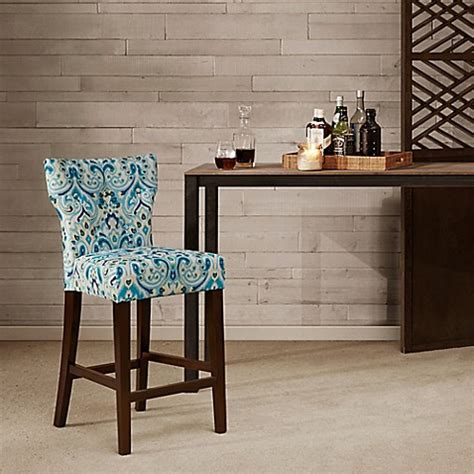 Tufted Back Counter Stool by Park Avila Tufted Back Counter Stool In Blue