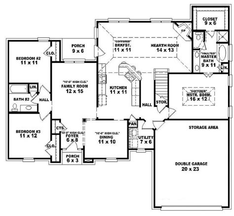 single story open floor plans one story 3 bedroom 2 bath traditional style house