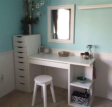 white vanity desk with drawers ikea micke desk with integrated storage as vanity desk