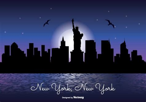 Paint It Blue by New York Night Skyline Illustration Download Free Vector