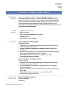 Resume Examples For Flight Attendant Flight Attendant Sample Resume Tips Amp Templates