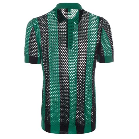 shirt knit paul smith s green and black open knit polo shirt in