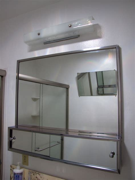 large bathroom mirror with double stainless steel Medicine