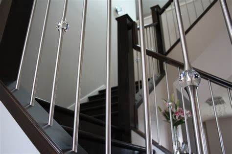 metal stair banisters stainless steel spindles mixed with crystal detail contemporary staircase