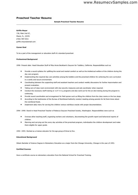 Resume Exle For Daycare Preschool Resume Whitneyport Daily