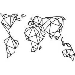 sticker design origami carte du monde stickers villes et