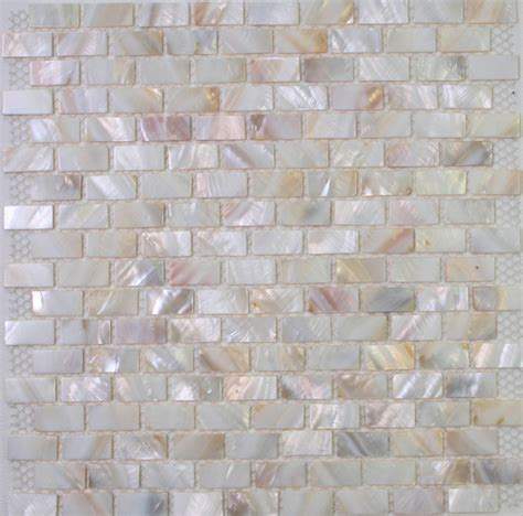 Kitchen Backsplash Peel And Stick Tiles by White Mother Of Pearl Tiles Mop Shell Tiles In Brick