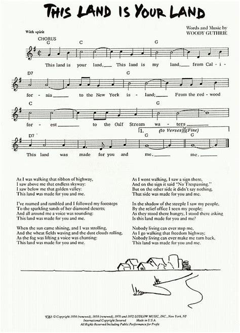 printable lyrics this land is your land cisco houston this land is my land lyrics