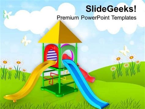 Play Ground For Kids Playing Powerpoint Template Powerpoint Template Kid Friendly Powerpoint Templates