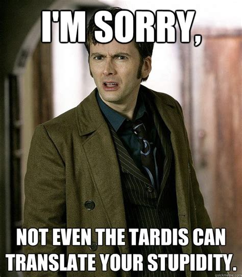 i m sorry not even the tardis can translate your