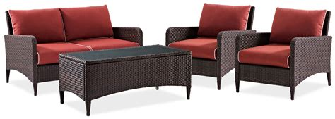corona outdoor loveseat 2 chairs and cocktail table set