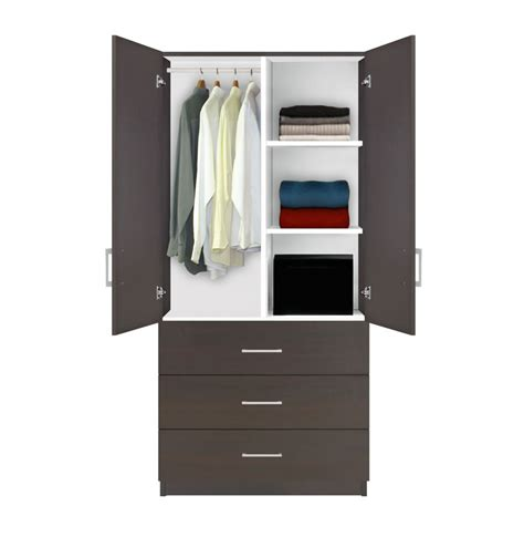 wardrobe armoire with drawers alta wardrobe armoire 3 drawer wardrobe shelves hangrod contempo space
