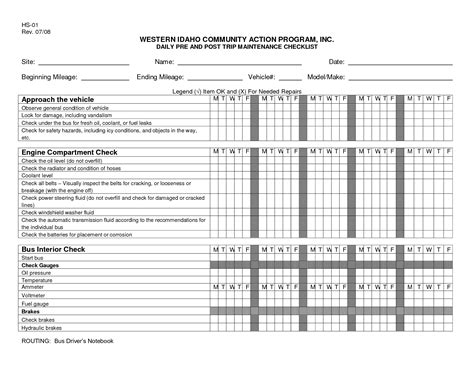 daily vehicle maintenance checklist template pinteres