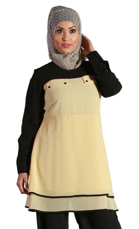 Sakivazra Color Block Tunic Muslim Blouse yellow color block georgette kurti eastessence