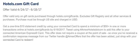 Combine Hotels Com Gift Cards - expired amexhotelsdotcom purchase 50 hotels com giftcard get 10 back doctor