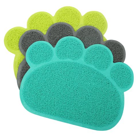 Paw Cleaner Mat by Puppy Paw Shape Placemat Pet Cat Dish Bowl Feeding