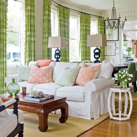 green curtains living room colorfully fun living room 100 comfy cottage rooms