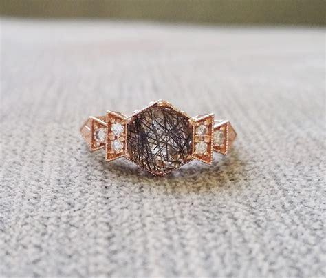 antique rutilated quartz engagement ring gold