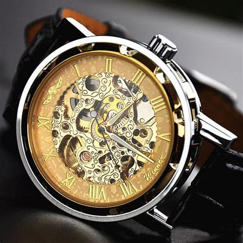 Winner Skeleton Leather Automatic Mechanical Watc Diskon winner mechanical skeleton automatic leather band watches fashion