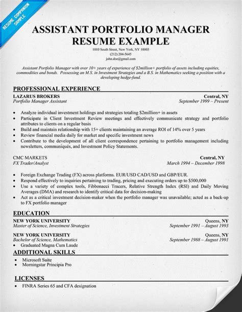 Resume Sle For Portfolio Administrator Assistant Portfolio Manager Resume Sle Resume Sles Across All Industries