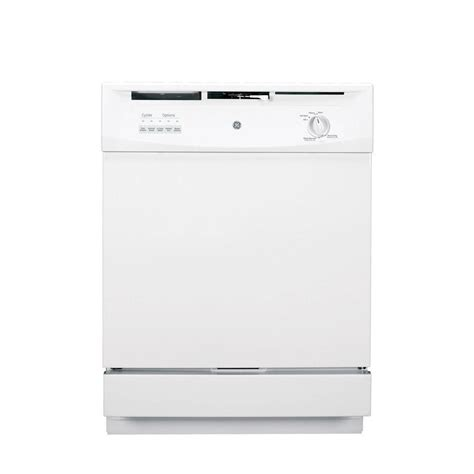 ge front dishwasher in white with hybrid stainless