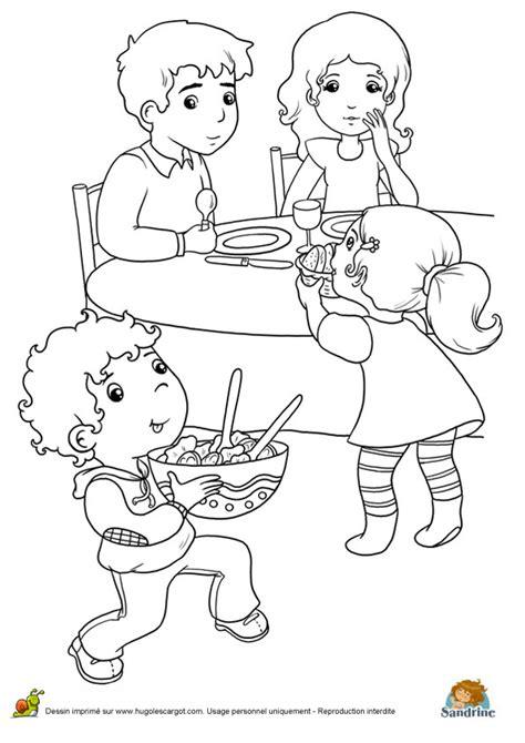 Coloriage repas famille e sur Hugolescargot.com