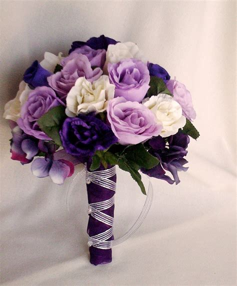 Silk Flowers Wedding by Silk Purple Bridal Bouquets Package Custom For Helen