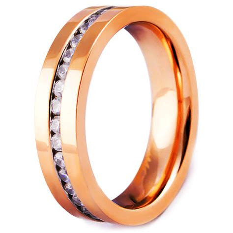 Cincin Gold Plated Zirconia Stainless Steel gold plated stainless steel band ring with cubic zirconia inlay bijouxstore webid 584