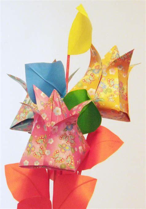 Origami Tulip Bouquet - origami tulip flower bouquet colorfold origami handmade