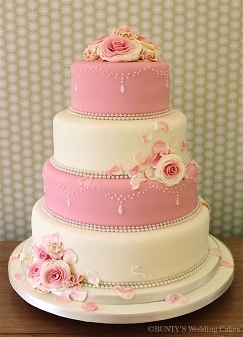 Hochzeitstorte Pink by Pink And Ivory Wedding Cake Cakecentral