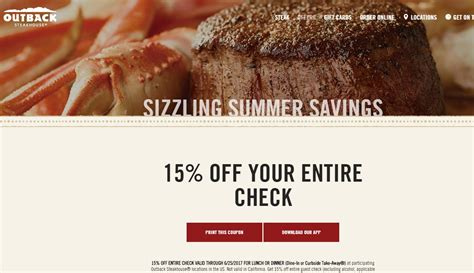 Outback Steakhouse Gift Card Special - outback steakhouse coupons specials 2017 lobster house