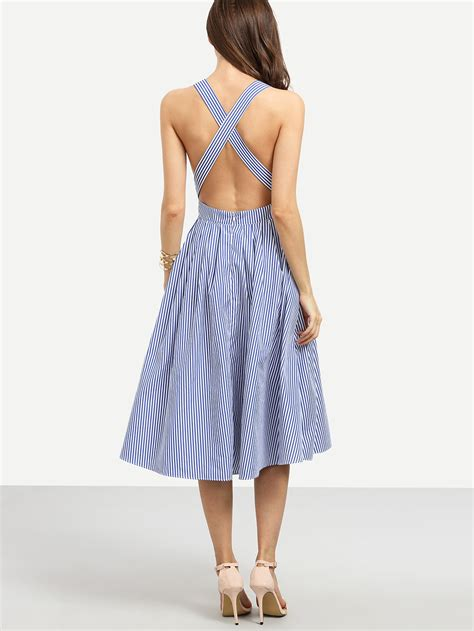 Summer Dress Silang Belakang Back Cross striped criss cross back swing dress shein sheinside