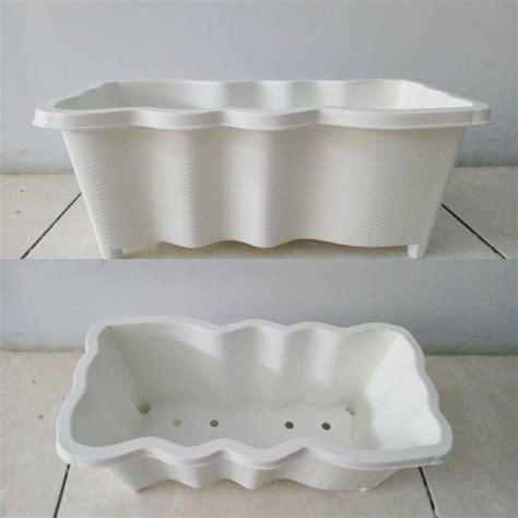 Pot Persegi Panjang Plastik pot persegi panjang gelombang putih bibitbunga