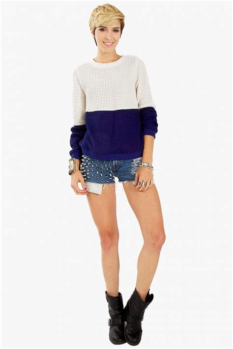 Creme Navy navy color block sweater modishonline