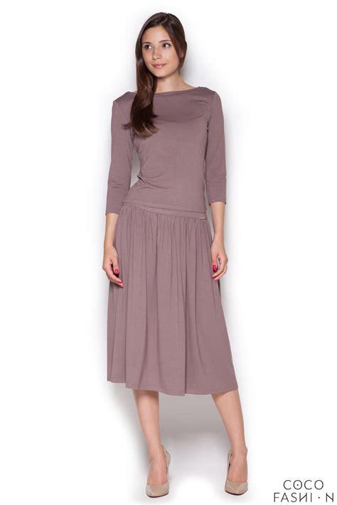 brown stylish set 3 4 sleeves blouse midi skirt