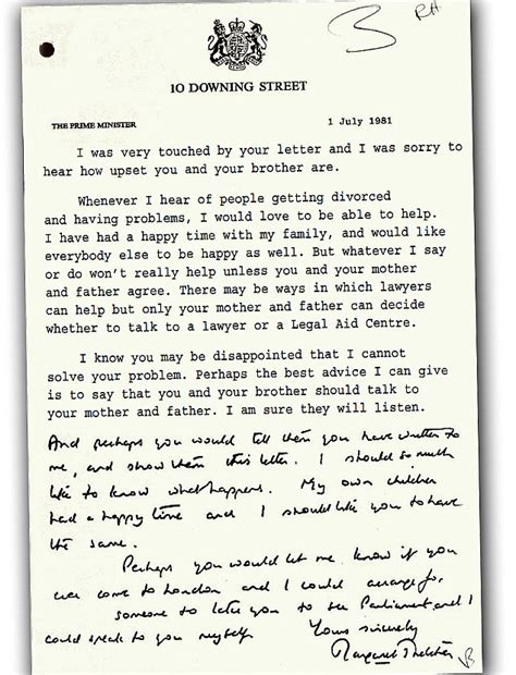 Divorce Letter To Parents Margaret Thatcher S Touching Letter Offering Personal Meeting To Hit By Parents Divorce