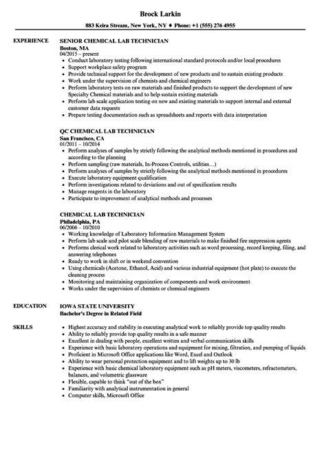 chemical lab technician resume sles velvet