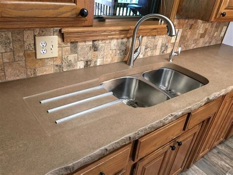 concrete countertop with integrated sink integrated kitchen sink with drainer concrete creations nwa