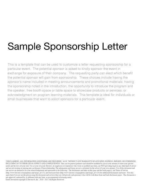 sponsor letter model sponsorship letter templates 40