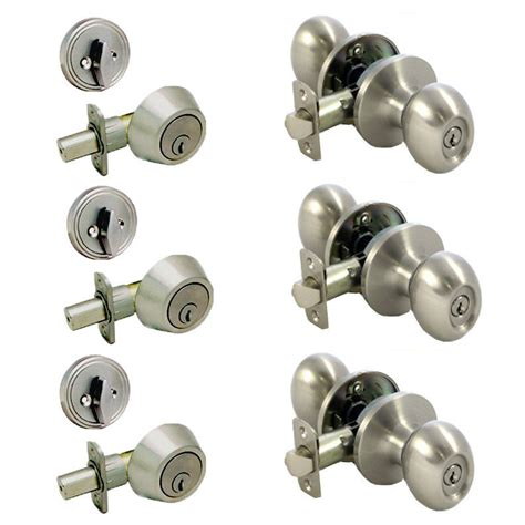Satin Nickel Keyed Egg Entry Door Knob Lock Set 3 Pack Ebay Exterior Door Lock Sets