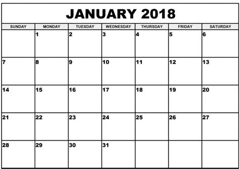 january 2018 calendar template editable printable january 2018 calendar archives printable