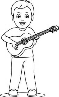 boy playing guitar coloring page wecoloringpage