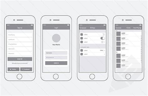20 Templates For Creating High Fidelity Wireframes Web Graphic Design Bashooka Sketch Ui Templates
