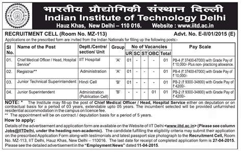 Iit Delhi Mba Application Form 2015 by Iit Delhi Recruitment 2015 Librarian