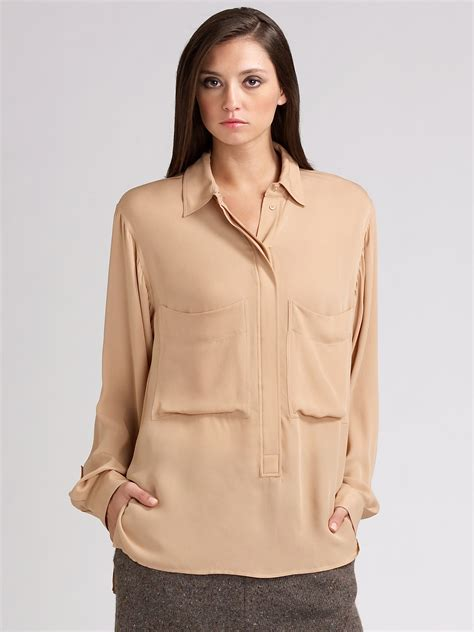 Blouse Crepe 1 chlo 233 silk crepe blouse in lyst