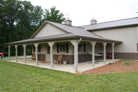 Home Shop Buildings by One Of A Metal Building Farm W Porch Kitch Area